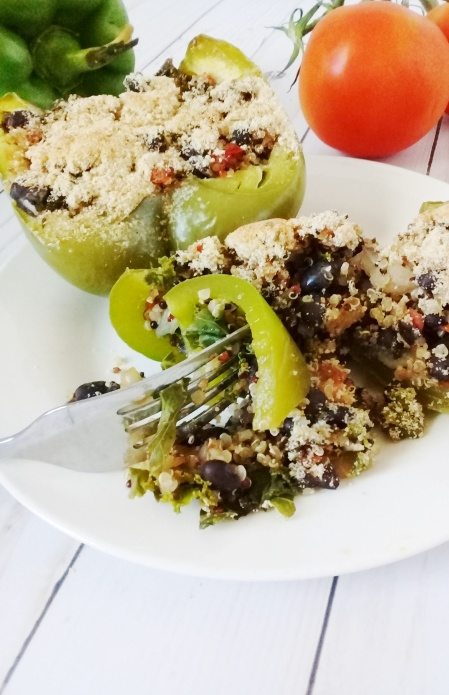 kale black bean quinoa tomato and onion stuffed peppers