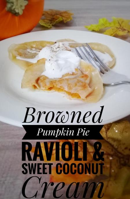lightly browned pumpkin ravioli and sweet coconut cream using wonton wrappers and sugar 2.0