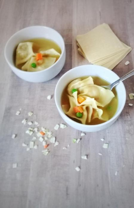 super easy veggie wonton soup made with cabbage, carrots, and water chestnuts