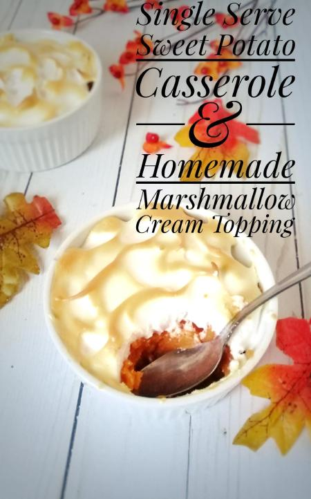 sweet potato casserole and homemade marshmallow cream topping using sugar 2.0