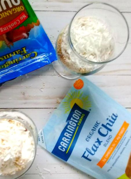 overnight oats breakfast parfait using carrington farms products
