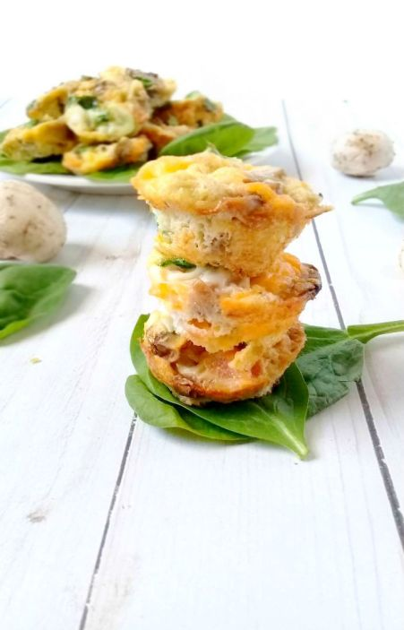 Loaded Omelet bites with bacon mushrooms spinach and cheese