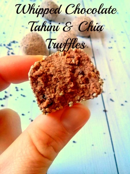 whipped chocolate tahini and chia seed truffles using soom tahini and sugar 2.0