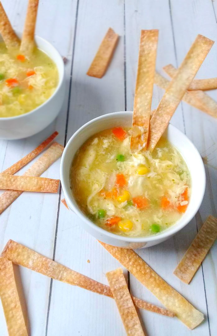 egg drop soup loaded with veggies