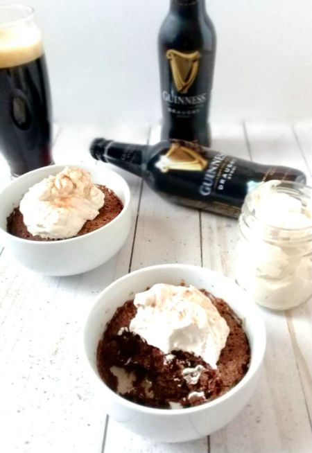 Chocolate cake and whipped cream made with Guinness beer, Bailey's Irish Cream, and Sugar 2.0