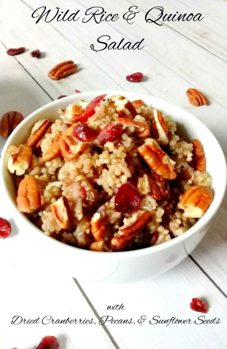Wild rice and quinoa salad with dried cranberries, pecans, sunflower seeds, and sugar 2.0